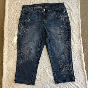 Lane Bryant Girlfriend crop jeans with embroidery